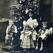c1908 Girls, Large Doll, Sailor Boy, Platform Horse, Decorated Christmas Tree, RPPC Real Photo Postcard #170