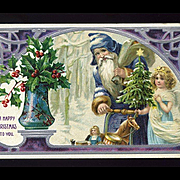 1910s Blue Robe Belsnickle Type Santa, Little Angel, Push Doll Carriage, Tree, Holly, Embossed #19 5