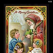 1910s Raphael Tuck Postcard, Santa Gives Train, Doll, Teddy Bear