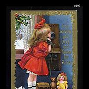 1910s Little Girl, Telephone Call, Thanks Santa for Doll, Teddy, Toys, L.R. Conwell Pub. Christmas Postcard #197