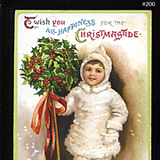 1909 Signed Clapsaddle Christmas Postcard, Winter Girl Holds Holly Berry Pike, Embossed, S. Garre Pub. #200