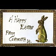 c1915 Die Cut Embossed Dresden Rabbit, Applied to Easter Postcard #212