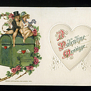 1914 Winsch Valentine Postcard, Romantic Cupids, Embossed #213