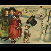 1910s Christmas Postcard, Snowman Greets Children and Dog #215