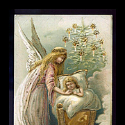 1910s German Christmas Postcard, Angel Gazes at Sleeping Baby, Tree, Gold Trim #217