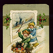 1911 Winch Christmas Postcard, Children & Golliwog Doll Sledding AS IS  #218