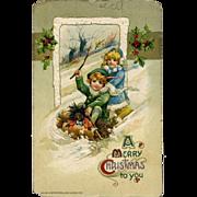 1911 Winch Christmas Postcard, Children & Golliwog Doll Sledding AS IS  #218