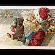 c1913 Winsch Christmas Postcard, Smiling Santa, Teddy Bear, Doll, Embossed,  Excellent Condition #219
