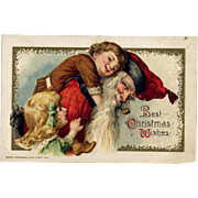 1914 Winsch Christmas Postcard, Santa Gives Laughing Little Boy Piggy Back Ride #220