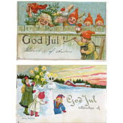 c1909 Pair Jenny Nystrom Swedish Christmas Postcards, Happy Elves, Children, Snowman Holds Decorated Tree #222