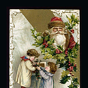 1910s Santa, Children Hanging Holly Berry Garland, Unsigned Winsch Christmas Postcard, Embossed , #225