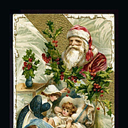 c1912 Unsigned Winsch Christmas Postcard, Santa Image Above Baby Who Won't Go To Sleep, #226