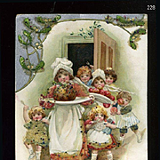 1912 Winsch / Schmucker, Cute Toddlers Follow the Plum Pudding, Embossed, Decorated with Coralene Beads, #228