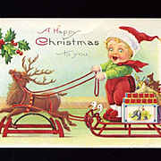 c1910s Reindeer Platform Horse Pulls Boy on Sled, Dolls, Stecher Christmas Postcard #229