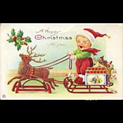 c1910s Reindeer Platform Horse Pulls Boy on Sled, Dolls, Stecher Christmas Postcard #229