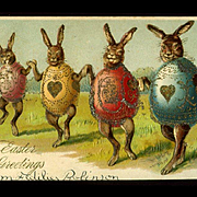 c1910s Dancing Rabbits Wearing Gold Decorated Egg Costumes, Easter Postcard, Germany #230