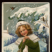 1911 German Christmas Postcard, Pretty Girl, Snowy Landscape, Applied Green Silk Coat, #231