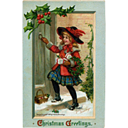 Iconic Frances Brundage, Girl in Red with Holly Wreath Knocks on Door, 1911Christmas Postcard, S. Gabriel Pub. #246