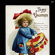 c1910s Signed Clapsaddle, Little Girl in Big Hat Carries Heart Decorated Box, Valentine Postcard #247