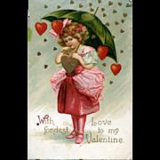 c1908 Signed Clapsaddle, Frou-Frou Pink Girl, Green Parasol, Dangling Hearts, Valentine Postcard #248