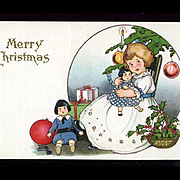 1910s Little Girl Loves Her Christmas Dolly, Signed Margaret Evans Price, Stecher Litho, Postcard #249