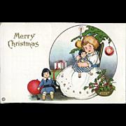 1910s Little Girl Loves Her Christmas Dolly, Signed Margaret Evans Price, Stecher Litho, Postcard #249