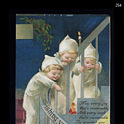 c1910s Signed Clapsaddle Children in White Pajamas & Puppy on Stairs Christmas Postcard #254