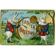 1912 Costumed Rabbits Announce Easter Greeting, Embossed Postard #255