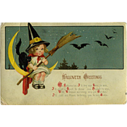1913 Little Girl Witch, Cat on Sickle Moon Halloween Postcard, Winsch Back Gottschalk, Dreyfuss, Davis London #258