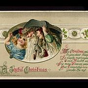 1914 Winsch Christmas Postcard, Smiling Santa, Happy Children Talk Toys Under Snowy Umbrella # 270