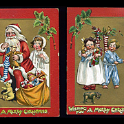 c. 1911 Tuck Santa, Children, Dolls, Teddy, Stockings, Pair Katherine Gassaway Christmas Postcards,  Embossed, Gold Trim #271