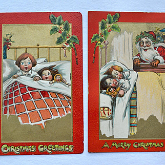 Katherine Gassaway, Children in Bed, Doll, Santa Checking, Pair 1910s Christmas Postcards #272