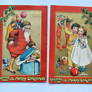 Katherine Gassaway, Santa Finds Kid in Hatbox, Boy Shows Girl Doll in Stocking, Pair Christmas Postcards #273