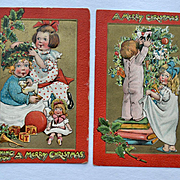 Katherine Gassaway, Children Decorate Tree, Make Holly Crown, Doll, Toys, Tuck Christmas Postcard #274