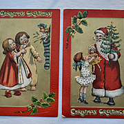 Katherine Gassaway, Santa Brings Tree, Doll, Stocking Pair Tuck Christmas Postcards #275