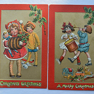 Katherine Gassaway, Winter Girl in Red Coat, Big Doll, Making Music, Drums, Horn, Toys Tuck Christmas Postcard #276