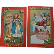 Katherine Gassaway, Children with Stockings, Toys, Moon Watches Santa in the Chimney, Tuck Christmas Postcard #277