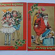 Children with Gifts, Holly Berry, Santa Finds Boy in Hat Box, Pair of Raphael Tuck K. Gassaway Christmas Postcards #278