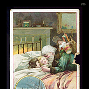 1896 Santa  Claus Bends Over Sleeping Children, Green Suit, Doll, Home Insurance Co. NY Scarce Trade Card As Is #283