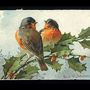 Catherine Klein, Christmas Robins on Holly Berry Branch, Original Unused Swiss Postcard #285