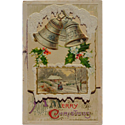 1911 Winsch Die Cut Booklet Applied to Christmas Postcard, Holly, Snow, Bells,  Poem #286