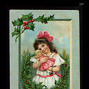 1911 Girl  Hugs  Christmas Doll, Signed Frances Brundage Postcard #287