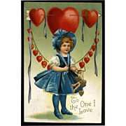 1909 Signed Clapsaddle Little Girl in Bonnet, Lots of Hearts, Valentine Postcard #288
