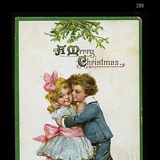 1912 Signed Frances Brundage Victorian Sailor Boy Kisses Cutie Pie Girl Under Mistletoe, Gabriel Pub. Christmas Postcard #289