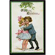 1912 Signed Frances Brundage Victorian Sailor Boy Kisses Cutie Pie Girl Under Mistletoe, Gabriel Pub. Christmas Postcard #289