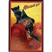 1910 Raphael Tuck Halloween Postcard, Something Just Spooked Big Eyed Witch, Cat on Her Shoulder, #291