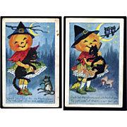 1922 Pair Whitney Hallowee Postcards, Happy JOL Girl and Her Scaredy Cat #292