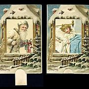 Early 1900s Santa and Sleeping Child Mechanical German Postcard