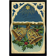 1919 Kaleidoscope Christmas Postcard, Shining Star, Snowy Gothic Arch, Bells, Holly Scarce Format