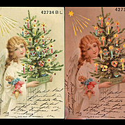 c.1907 Hold to Light German Postcard, Christmas Angel with Dolls, Star Shines, Candles Glow in Light HTL Scarce  Format
